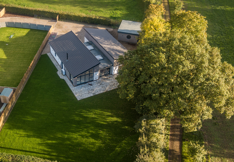 Aerial view of new home